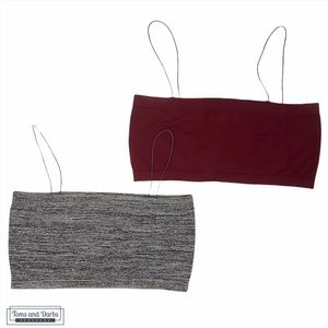 Urban Outfitters 2 Piece Bralette Set - Red & Grey